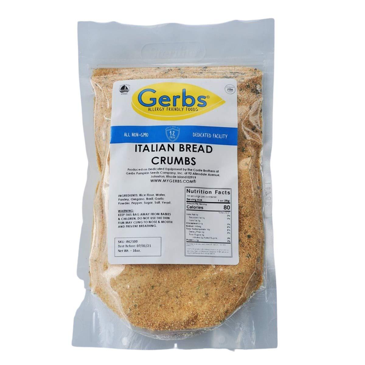 GERBS Italian Breadcrumbs, 32 ounce, Top 14 Food Allergen Free, Preservative Free, Keto, Vegan, Non GMO