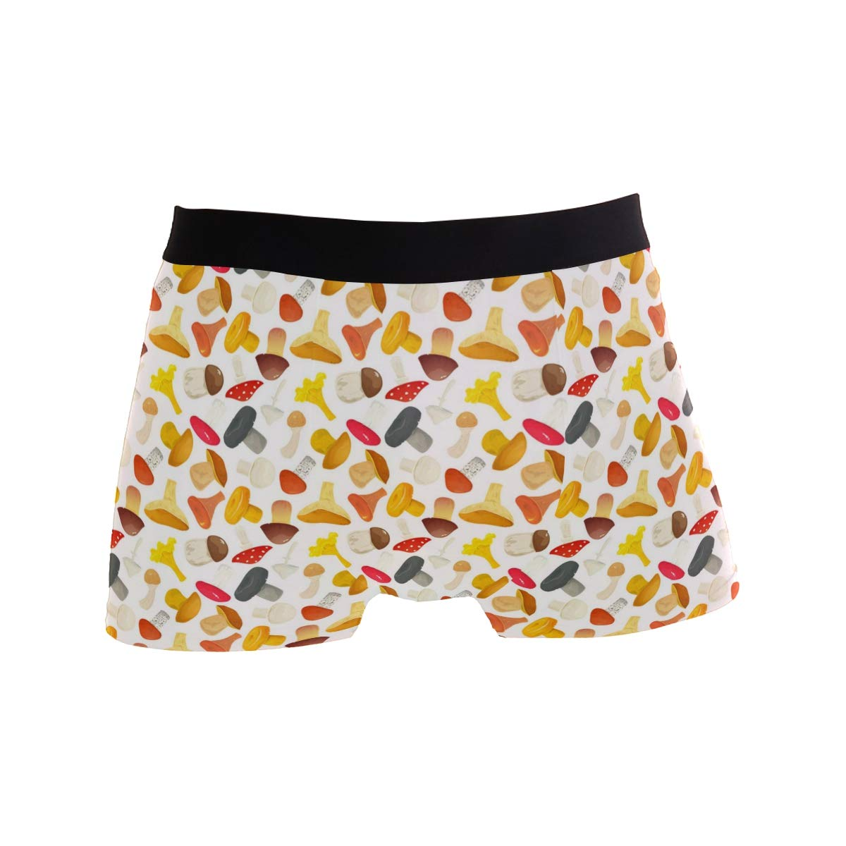 Mens Soft Breathable Mushrooms Yellow and Red Underwear Boxer Briefs