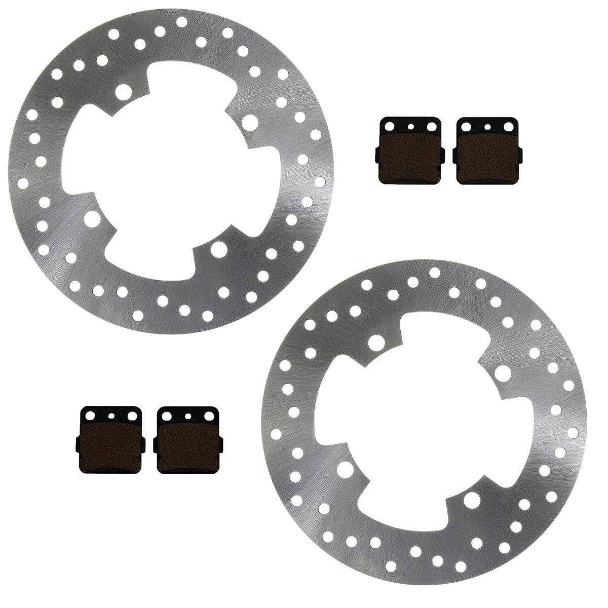 Factory Spec, (2) FS-2086 (2) FS-409, 2 Front Disc Brake Rotors & Semi-Metallic Brake Pads 2002-2008 Yamaha Grizzly 660 4x4 YFM660F