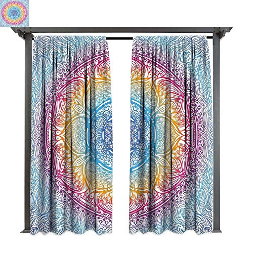 acy Curtain for Pergola, Magical Fantastic Design in Vivid Colors Boho Round Figure Blooms Lotus Inspiration, Thermal Insulated Water Repellent Drape for Balcony (W96 x L96 Inches ()