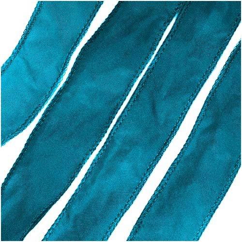 Silk Fabric Flat Silky Ribbon 2cm 'Cerulean Blue' 42 Inch Strand (1)