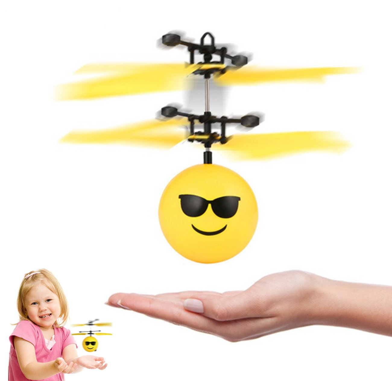 Hobby-Ace Flying Toys Hovering Cool Face, Children's Hovering Toy, Fun Kids Toy, Rechargeable Hovering Poo, Infrared Sensor Flying Saucer Hand Induced Kids Toys