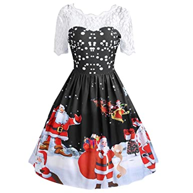 ff4c7570ff69 Vintage Dresses for Women for Christmas Santa Claus Print Lace Eveing Party  Dress for Ladies Teen