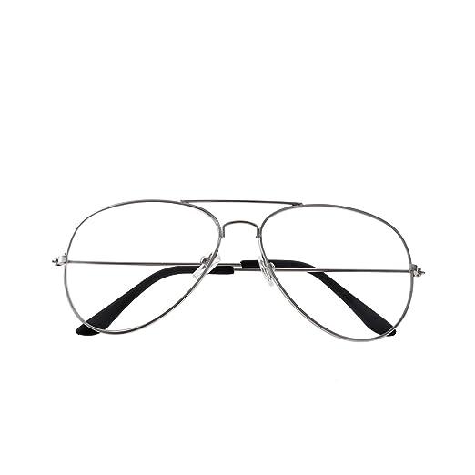 Forepin® Occhiali in Metallo Retrò aviatore Occhiali Decorativo con Lenti Trasparenti per Uomo Donna (Nero) kqLwJl