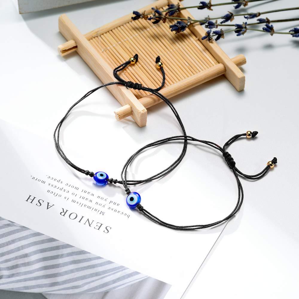MANVEN Evil Eye Bracelet for Women Men Handmade Adjustable Ojo Turco Lucky Kabbalah Protection Distance Relationship Bracelets