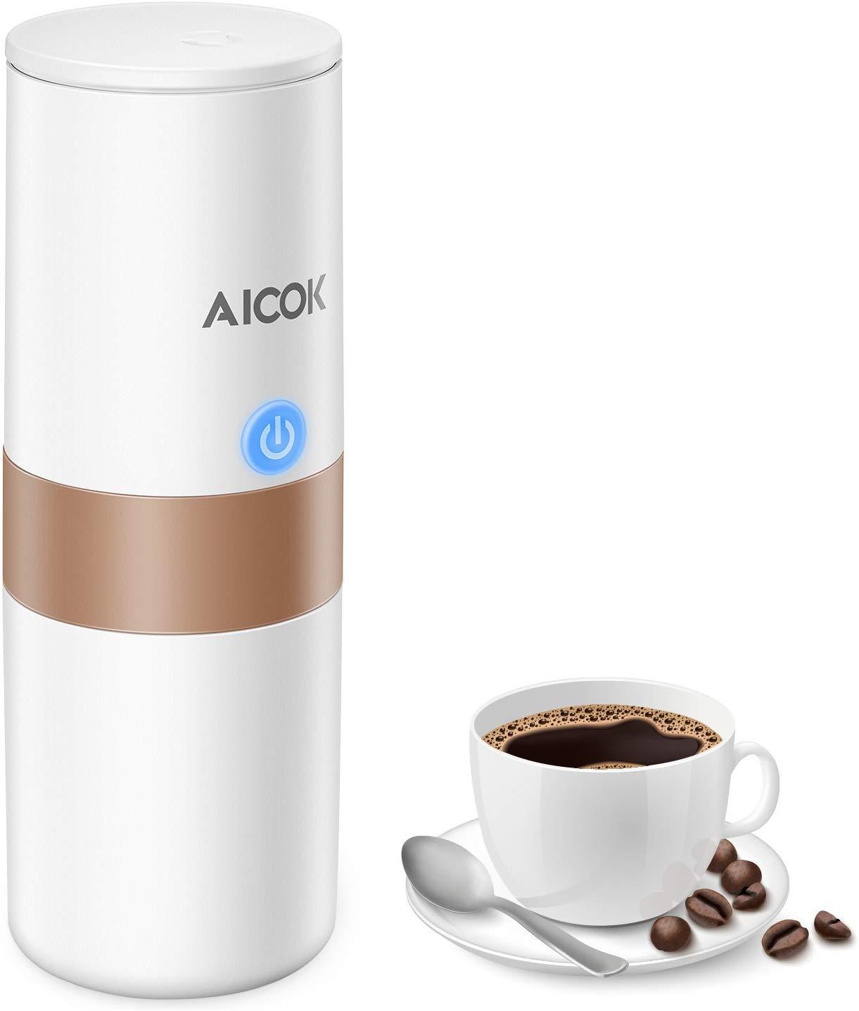 per Auto Campeggio ecc. Casa Ufficio Mini Elettrica Caffettiera per Caff/è Espresso con Filtro 150 ML, Bianco Avorio Caff/è Macinato//Capsula Compatibile Macchina Caff/è Portatile Aicok