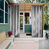 leinuoyi Grey and White, Outdoor Curtain Modern, Vertical Lined Wooden Board Background Black and White Tone Vintage Planks Picture, for Patio Waterproof W72 x L108 Inch Grey