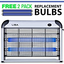 LiBa Bug Zapper & Electric Indoor Insect Killer Mosquito, Bug, Fly & Other Pests Killer – Powerful 2800V Grid 20W Bulbs – 2-Pack Replacement Bulbs Included