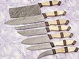 Bone Handle Damascus Steel Kitchen Chef Knife Set 7 PCs A-E 07-C BWN