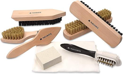 Navaris Set de Limpieza de Zapatos - Kit 6X Cepillo 1x Esponja para Suciedad y 1x paño de Pulido - Cepillos para Distintos Tipos de Calzado de Cuero: Amazon.es: Jardín