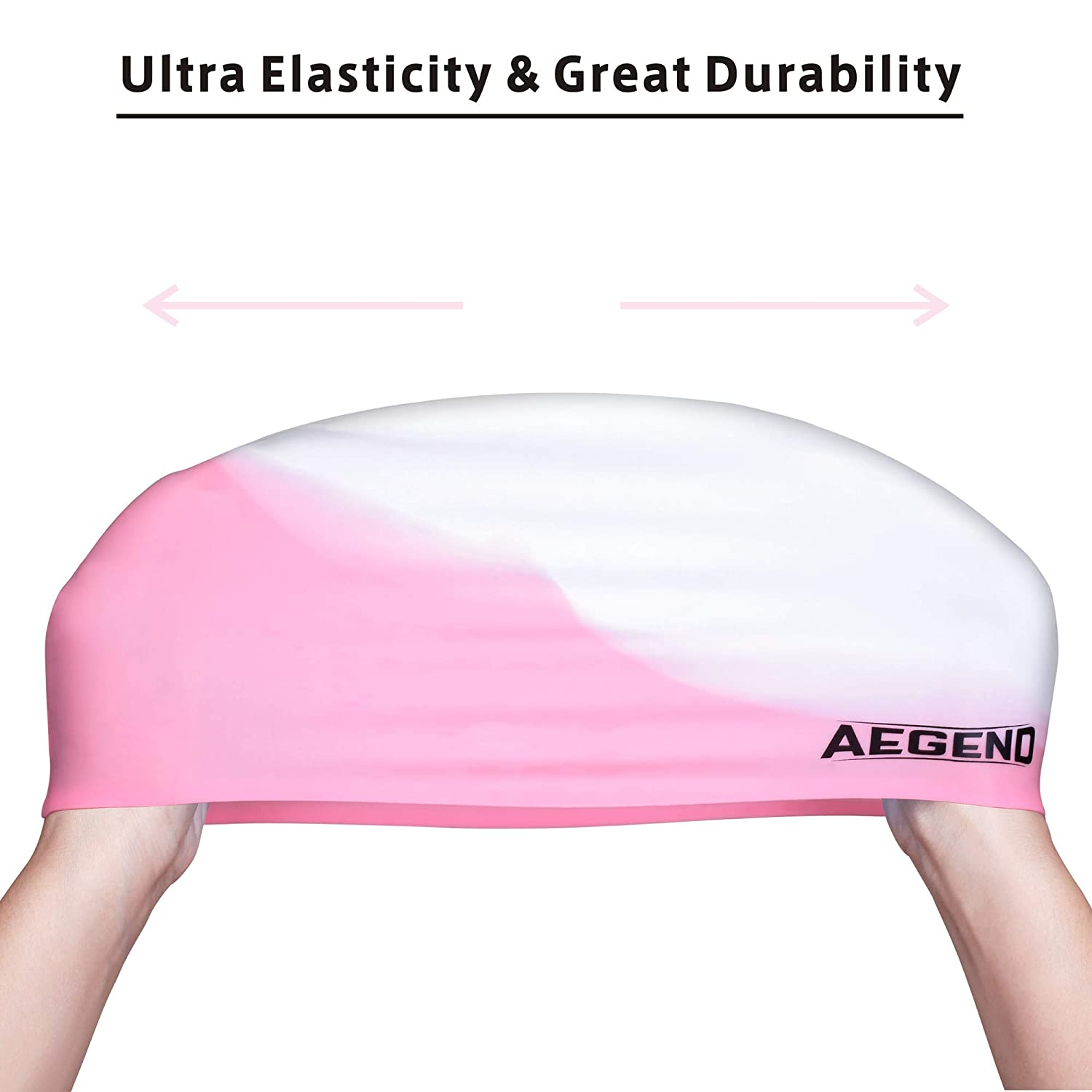 Durable Silicone Swimming Cap for Kids Youths Comfortable Fit for Long Hair and Short Hair aegend 2 Pack Swim Cap for 3 Colors Age 3-12