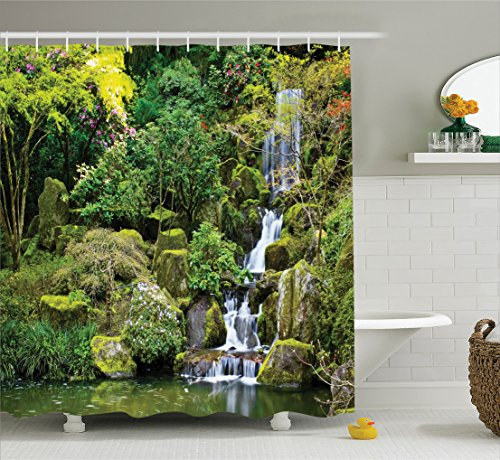Ambesonne Country Home Decor Shower Curtain Set, Pond in Asian Style Garden Arboretum Trees Bush Foliage Rocks Waterscape Picture, Bathroom Accessories, 75 Inches Long, Green from Ambesonne