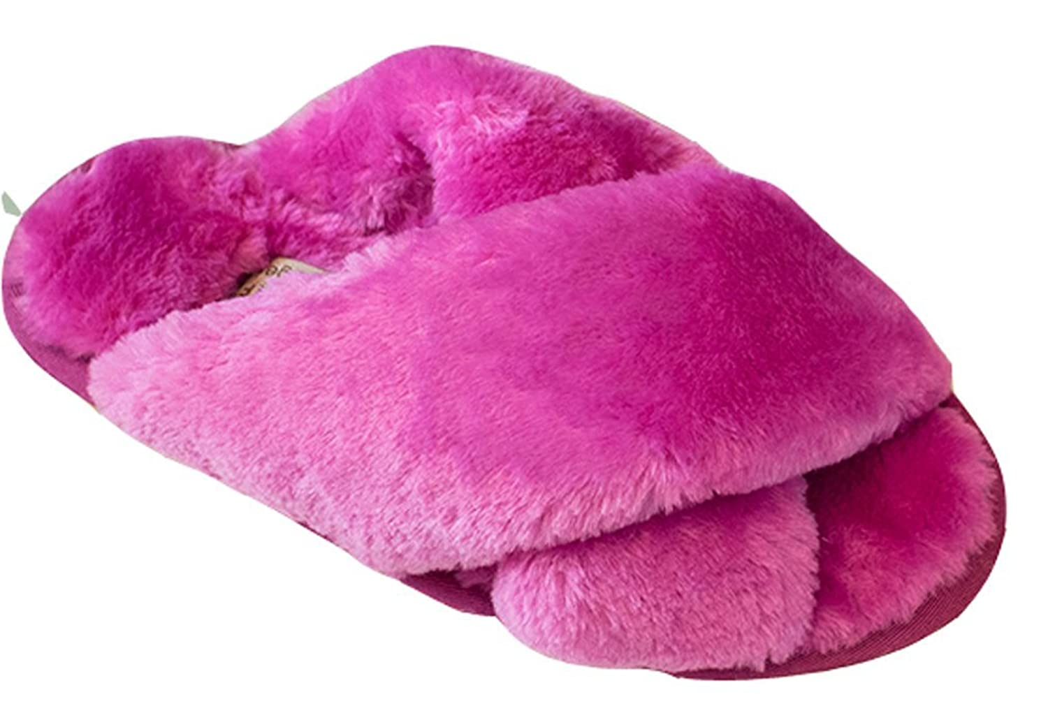 Blubi Women's Solid X Style Bedroom Slippers Comfy Warm Slippers