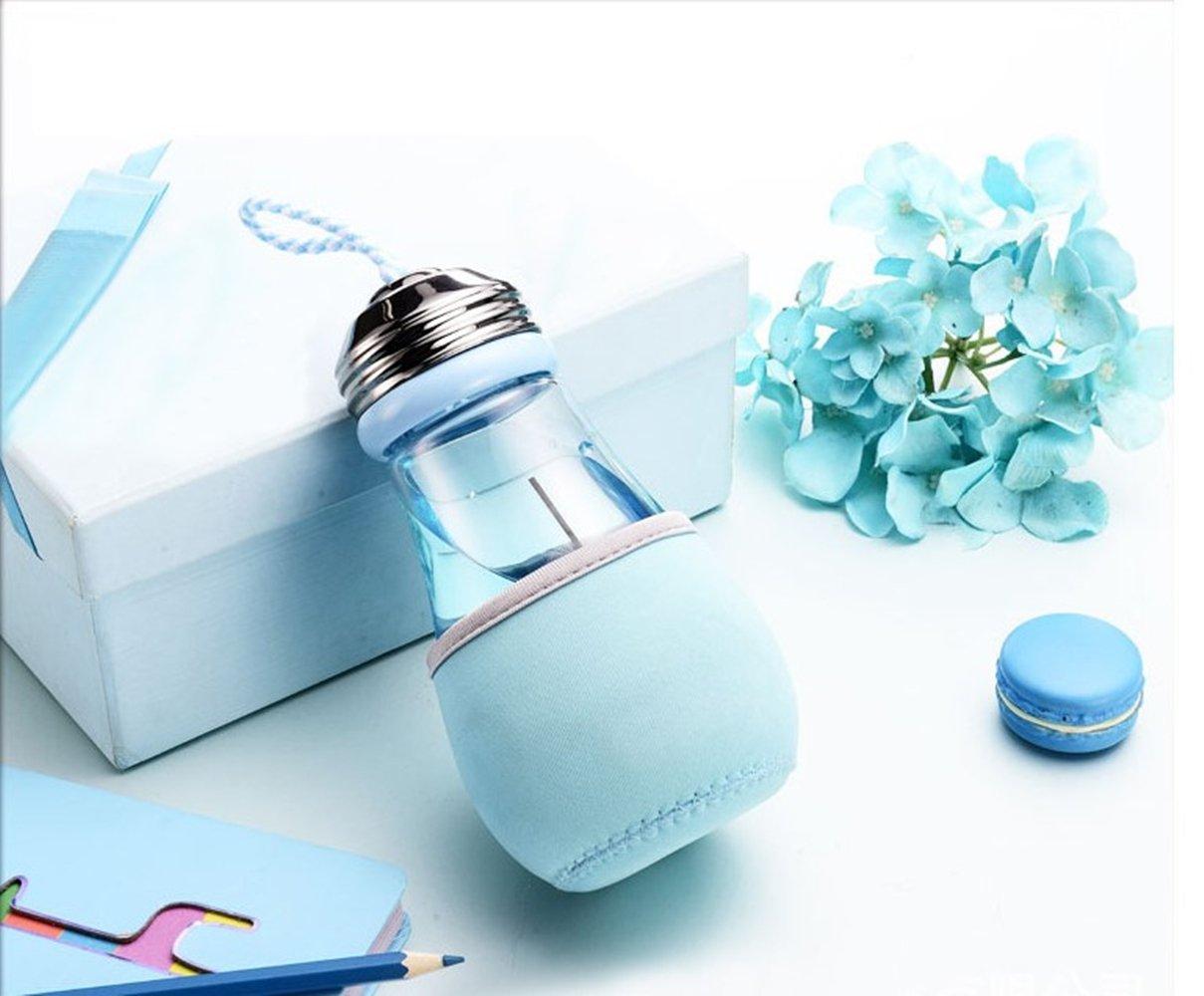 Keemanman Creative Bulb Cup,BPA Free Glass Travel Tea Mug,Cute Water Bottle with Neoprene Sleeve 14 Ounce (blue)