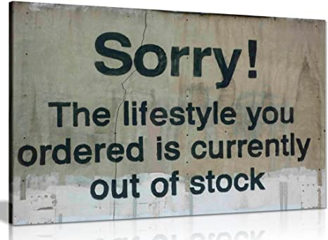 LIFE STYLE ORDERED PAINT  BY BANKSY PRINT ON  FRAMED CANVAS ARTWORK WALL ART