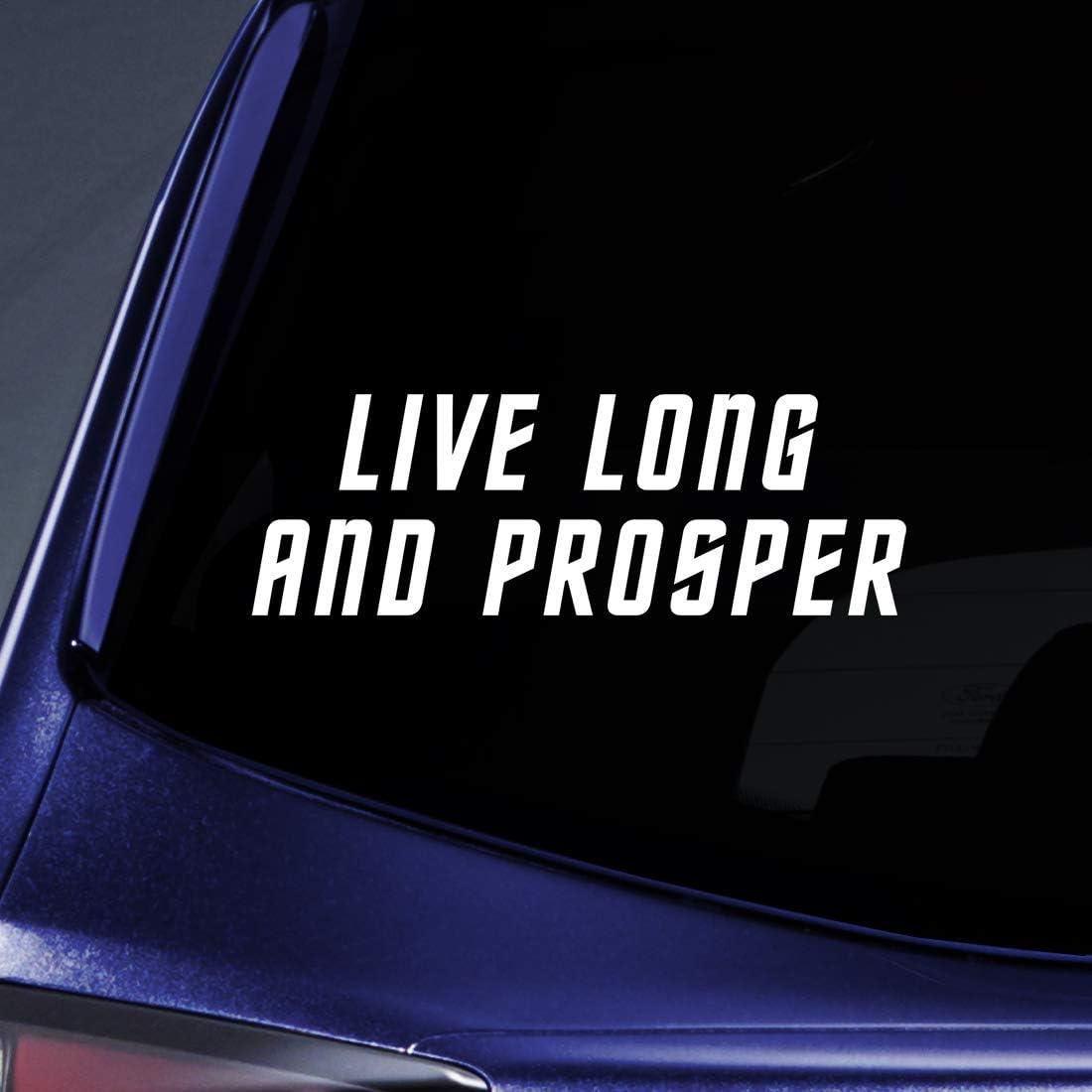 "Bargain Max Decals - Live Long Prosper - Spock Vulcan Sticker Decal Notebook Car Laptop 8"" (White)"