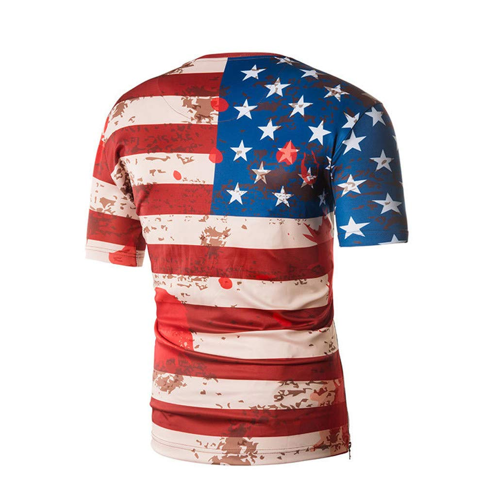 Mens American Flag Fashion Printing Tees Short Sleeve T-Shirt Blouse Tops