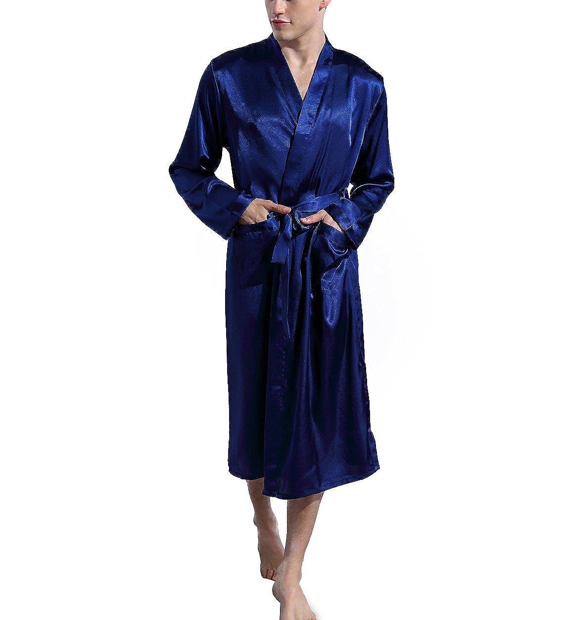 702c9498ac Admireme Men s Satin Kimono Robe Spa Bathrobes Loungewear Sleepwear Long  Bathrobe Lightweight Silk Nightwear at Amazon Men s Clothing store