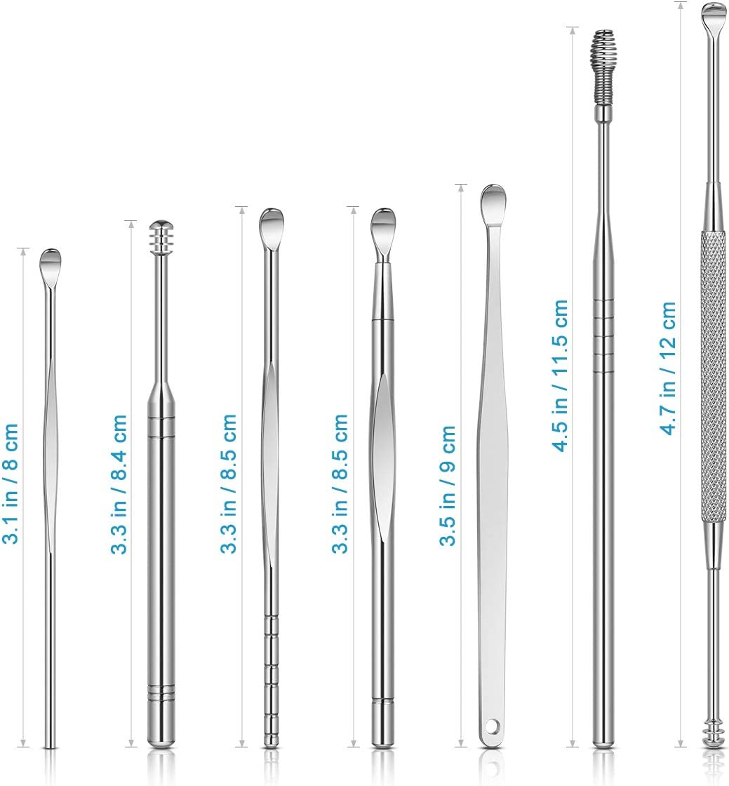 Ear Wax Removal Kit, 8-in-1 Ear Pick Tools Curette Cleaner Reusable Ear Cleaner