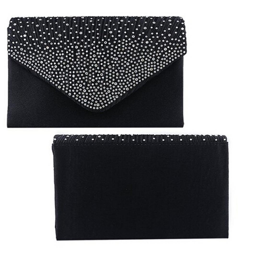 Pocciol Women Favorite Bags, Womens Large Evening Satin Diamante Clutch Bag Party Messager Bags (Black) 001996