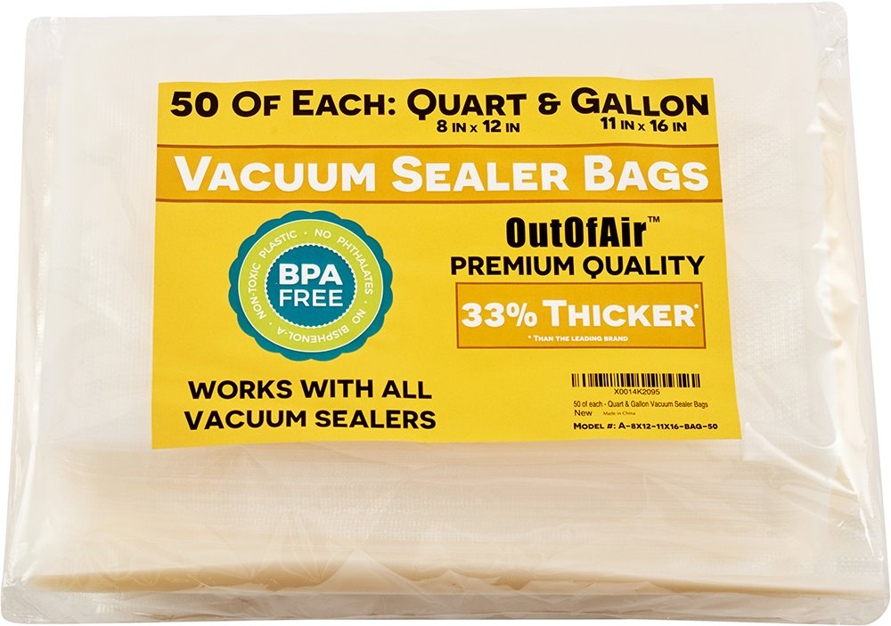 "100 Vacuum Sealer Bags: 50 Quart (8"" x 12"") and 50 Gallon (11"" x 16"") OutOfAir Vacuum Sealer Bags for Foodsaver and Other Savers. 33% Thicker than Others, BPA Free, FDA Approved, Great for Sous Vide"