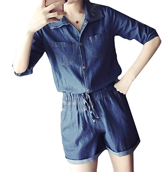 cd1f6cffcbe Amazon.com  Lutratocro Women s Denim Half Sleeve Button Down Elastic Waist  Shorts Drawstring Crimping Jumpsuits  Clothing
