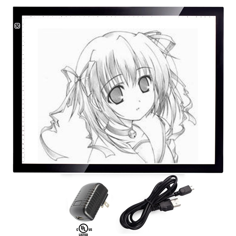 A3 Tracing Light Box, CCTRO Portable LED Artcraft Tracing Light Pad A3 Light Box Tracer USB Power Cable Dimmable Brightness Tattoo Pad Animation, Designing, Sketching, Drawing, Artists, X-ray viewer
