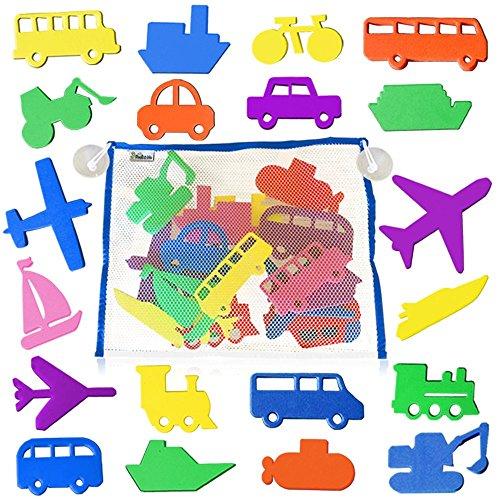 3 Bees & Me 20 Fun Foam Bath Toys for Toddlers Boys & Girls plus Toy Organizer - Bath Toy Foam Shapes and Storage Net Set