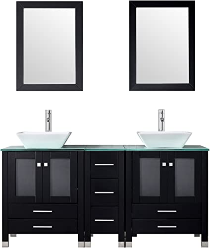 Walcut 60 Double Ceramic Sink Solid Wood Bathroom Tempered Glass Countertop Vanity Cabinet Modern Contemporary Design w/Mirror