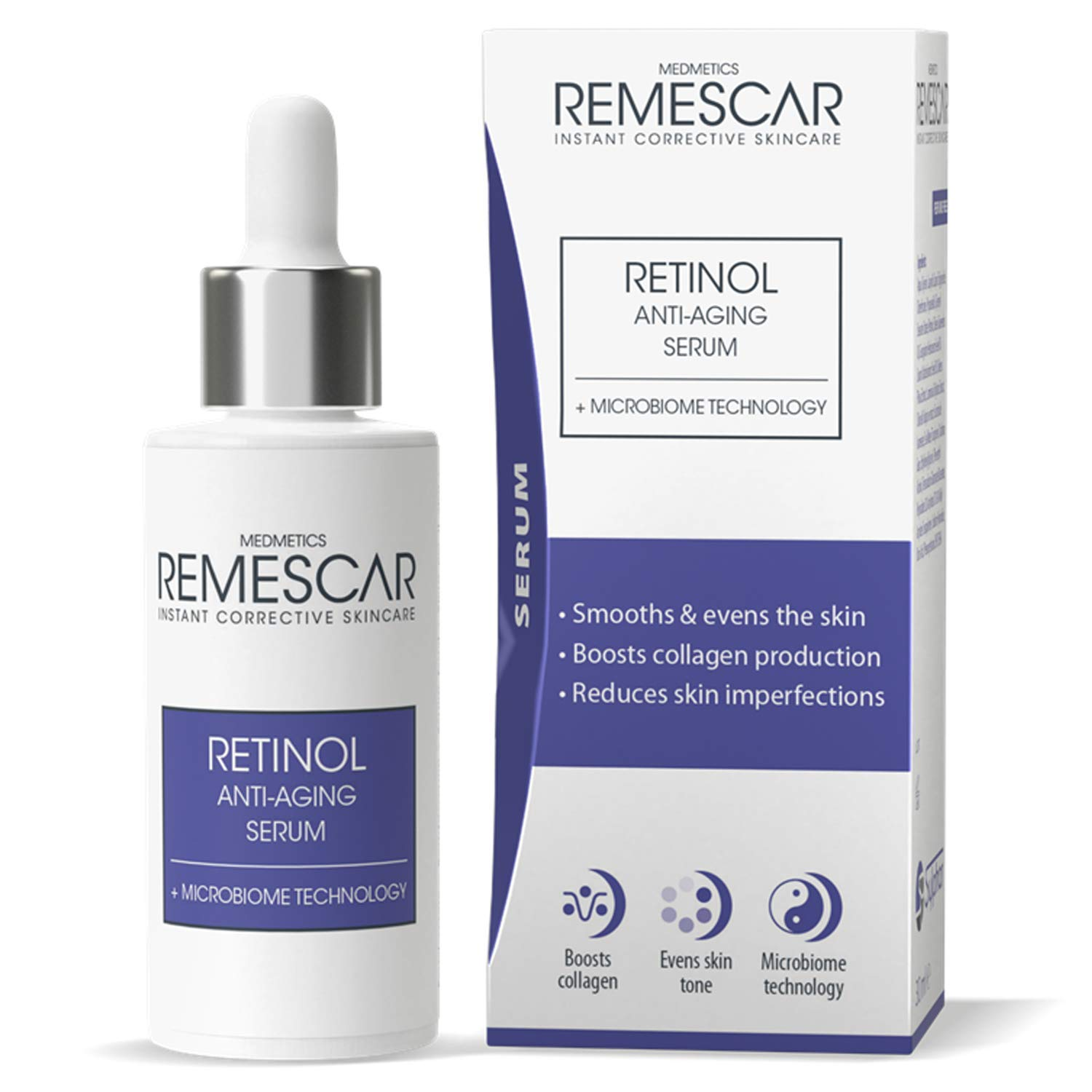 Remescar - Retinol Anti-Aging Serum - Microbiome Technology - Boosts Collagen - Smooths & Firms Skin - Counteracts Wrinkles - Reduces Skin Imperfections