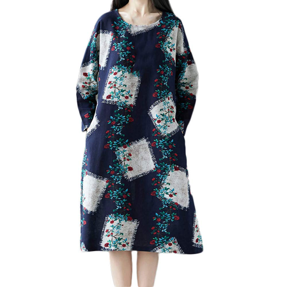 AMSKY Toddler Dress,Women Plue Size Long Sleeve Patchwork Cotton Linen Loose Print Bohe Dress,Tops & Tees,Navy,XXL