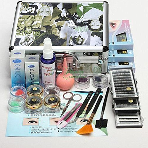 PAPE, Professional False Eye Lash Eyelash Extension Full Tools Kit Set With Case (Cherry Hedge Stem)