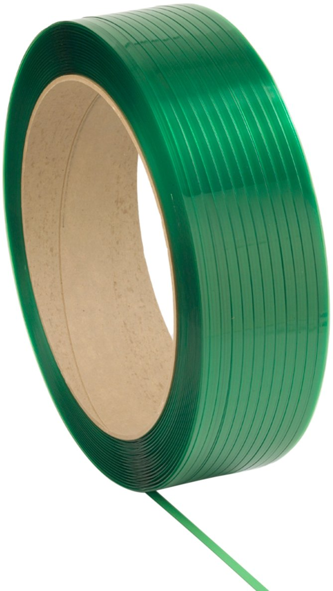 PAC Strapping 4820606T72 Polyester Dry General Purpose Machine Grade Strapping, 7200' Length, 1/2'' Width, 0.020'' Thick, Green