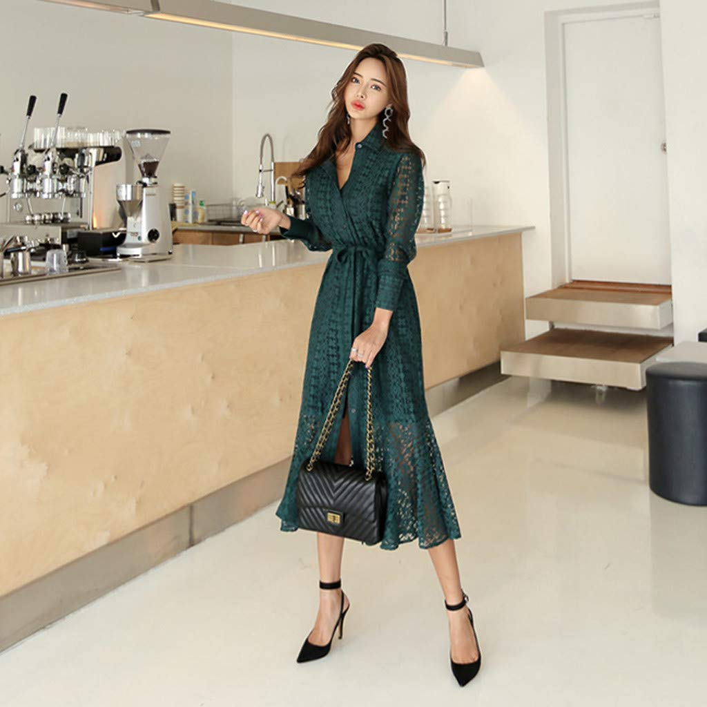 Women Ladies Office Lace Sexy Long Sleeve Tie Up Button Down Mermaid Flare Dress Green by LUXISDE (Image #3)