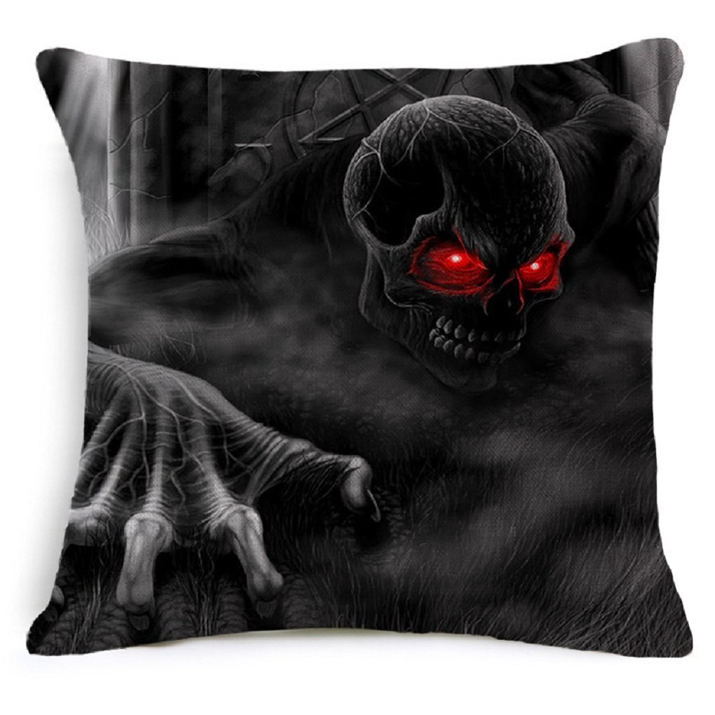 Decorative Square Throw Pillow Case Cushion Cover Bat Pumpkin Happy Halloween (4, B)
