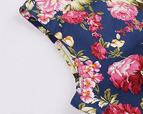 YiLianDa 1950s Rockabilly Mujer Hepburn Vintage Vestido De Cóctel Plisado Pin Up Swing Vestido Azul