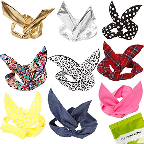 - Bundle Monster 9pc Girls Assorted Fashion Rabbit Ear Wired Hair Tie Scarf Wrap