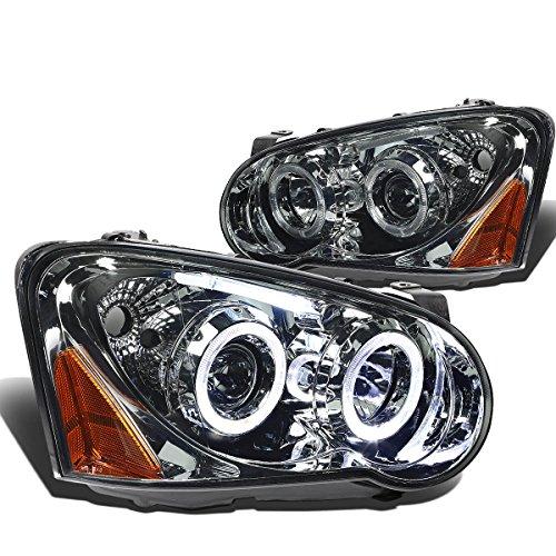 Impreza GD GG Smoked Lens Amber Corner Twin Angel Eyes Dual Halo Projector LED Headlight Assembly