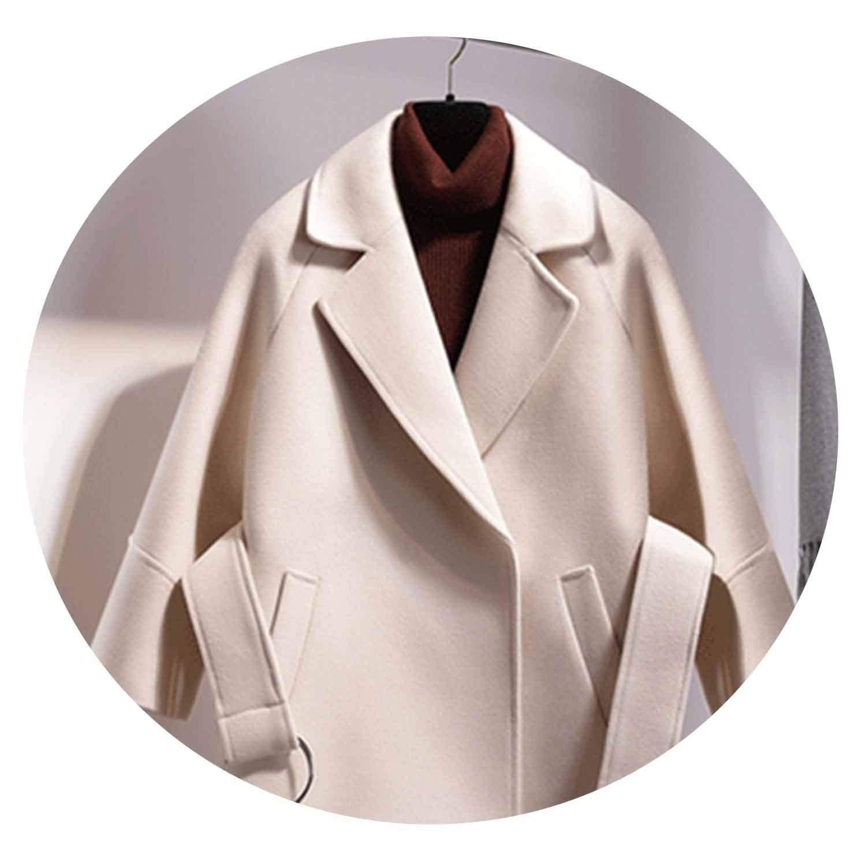 White Women Wool Coat Blend Jacket Belt Loose Short Vintage Casual Autumn Winter Overwear 3 4 Sleeve