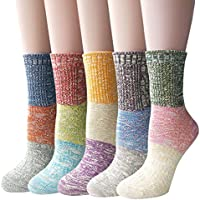 5-Pk.YSense Women's Multicolor Knitted Casual Crew Socks