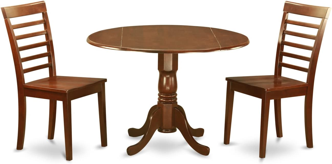 East West Furniture DLML3-MAH-W 3 PC Small Kitchen Table and Chairs Set-Drop Leaf Table and 2 Kitchen Chairs