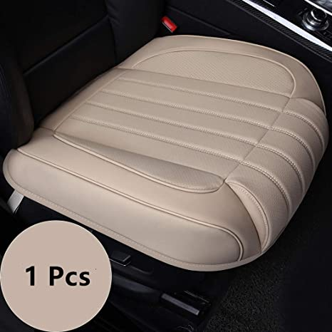 c6f4b6d2d919a yberlin Car Seat Cushion Cover,Luxury PU Leather Auto Bottom Single Front  Driver or Passenger Seat Protector Pad with Comfort Leg Support Pillow- Fit  ...