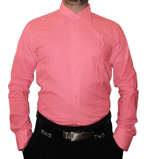 3f0a221ec4 Designer Hombre Camisa Slim Fit entallado Cuello clásico manga larga Bügel libre  muchos colores Slimfit Bodyfit rosa 43  Amazon.es  Ropa y accesorios