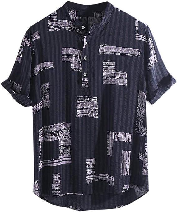 4Clovers Mens Short Sleeve Hawaiian Shirt Button Down Summer Casual Cotton Tops