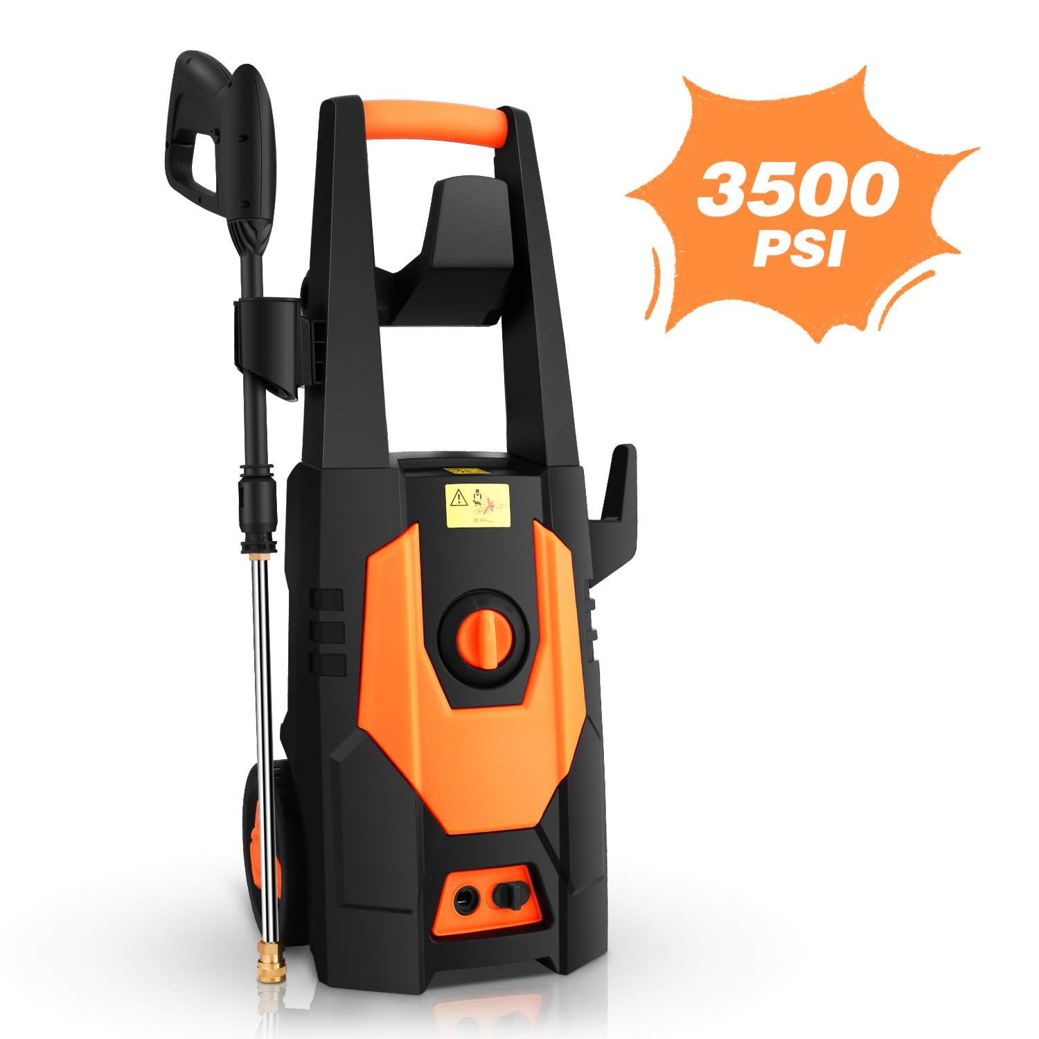 mrliance 3500PSI Electric Pressure Washer, 2.0GPM Electric Power Washer High Pressure Washer with Spray Gun, Brush, and 4 Quick-Connect Spray Tip Orange