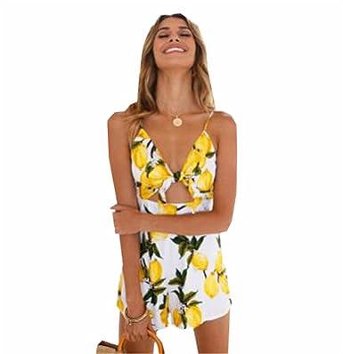 f950f247a8c1 COCO clothing Damen Sommer Schulterfrei Overall V-Ausschnitt Jumpsuits  Riemchen Shorts Bedruckte Kurze-Hose