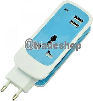 Cargador alargador corriente enchufe universal USB 2 puertos 240 V ...