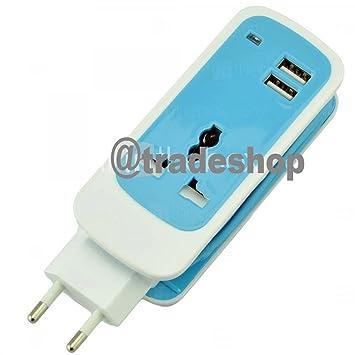 Cargador alargador corriente enchufe universal USB 2 puertos ...
