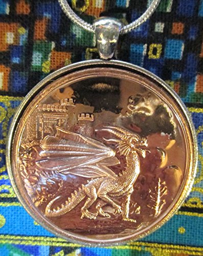 Celtic Lore: Welsh Red Dragon – 24 Inch Sterling Silver Necklace, Copper Coin, (Silver Welsh Dragon)