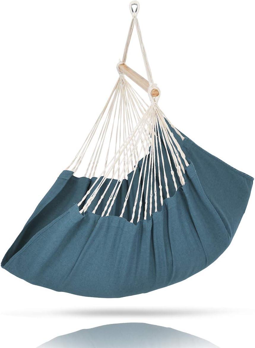 ELC Hammock Swing Chair, Olefin Fabric Hanging Hammock Chair for Indoor Outdoor, Bedroom Patio Backyard Blue